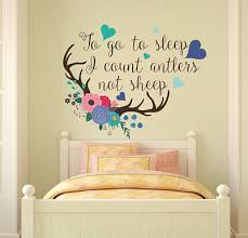 To Go To Sleep I Count Antlers Not Sheep Deer Horns With Flowers Lt9 Ebay