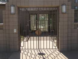 Decorative Wrought Iron Gates Double Entry Gates With A Modern Straight Look Modern Courtyard Gate Design Cast Iron Fence
