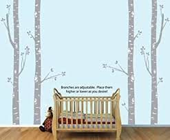 Amazon Com Large Birch Tree Wall Decal With 4 Gray Trees Baby