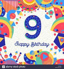 Feliz Cumpleanos 9 9 Ano Diseno Divertido Con Numero Texto De