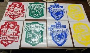 Full Set Harry Potter Hogwarts House Crests Slytherin Gryffindor Huf Ftw Custom Vinyl