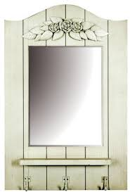 white wooden wall mirror with shelf and