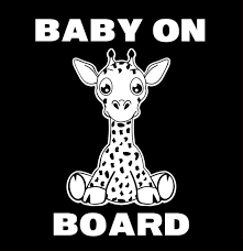 Cute Giraffe Baby On Board Decal Baby Decal Car Decals Baby Etsy