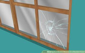 broken window pane wooden frame