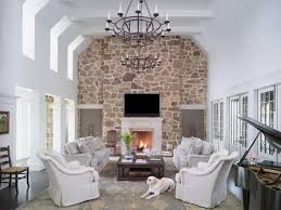 living room with stone accent wall