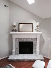 red orange brick fireplace