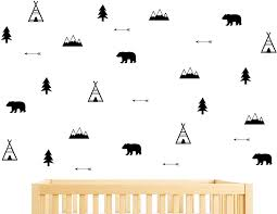 Amazon Com Woodland Wall Decal Bears Arrow Teepees Trees And Mountains Decor Matte Vinyl Wall Stickers For Baby Bedroom Nursery Wall Decals Y05 Black Home Kitchen
