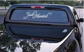 Amazon Com Decor Vinyl Store Just Married Car Truck Decal Automobile Window Decal 12 5 Wide X 3 5 Tall Automotive