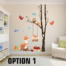 Fox Wall Decals Woodland Nursery 1 Tree Birch By Americandecals Kids Room Wall Decals Kids Room Murals Nursery Room Decor