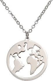 round origami world map necklace women