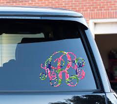 Preppy Flamingo Monogram Car Decal Car Stickers Car Decor Cute Car Accessories Lilly Inspired Car Decal Cute Car Decals Car Monogram Decal Cute Car Accessories