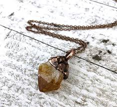 raw citrine crystal pendant necklace