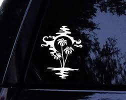 Palm Tree Reflection Decal Palm Tree Beach Water Vinyl Car Decal Laptop Decal Car Window Sticker Car Window Stickers Laptop Decal Vinyl Decals