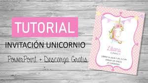 Tutorial Invitacion Unicornio Glitter Power Point Facil