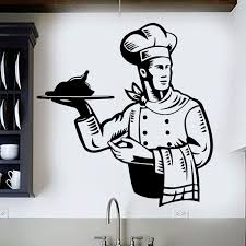 Wall Stickers Restaurant Chef Wall Decal Kitchen Dish Cooking Wall Mural Restaurant Food Service Vinyl Wall Window Sticker Ay868 Wall Stickers Aliexpress