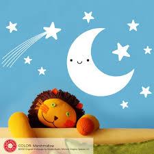 Happy Moon Stars Wall Decal Baby Nursery Kawaii Vinyl Wall Sticker Graphic Spaces
