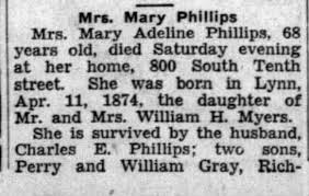 Obituary for Mary Adeline Phillips (Aged 68) - Newspapers.com