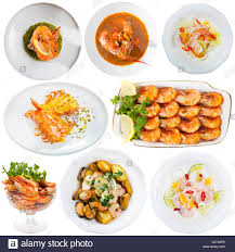 restaurant seafood dishes with shrimps ...