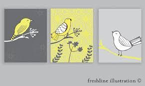 Nursery Art Print Set Nursery Decor Kids Room Art Nursery Wall Art Bird Art Prints Freshline Illustration