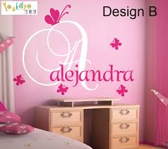 Personalized Name Vinyl Decal Initial With Butterfly Gir Wall Decals 2 Design 2 Color Vinyl Name Wall Vinylvinyl Wall Aliexpress