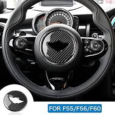 Amazon Com Airspeed Carbon Fiber For Mini Cooper Hardtop F55 Hatchback F56 Countryman F60 Accessories Car Steering Wheel Cover Stickers Interior Trim Decoration Decal Automotive