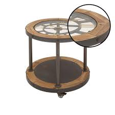 black iron clock face side table with