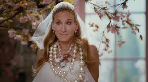 bride carrie bradshaw dress and