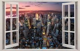 New York Dusk Cityscape 3d Window Decal Wall Sticker Home Decor Art Mural J1141 Ebay