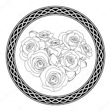 Pictures Celtic To Colour Ornament With Celtic Motive And Roses