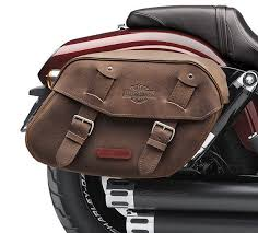 distressed brown leather saddlebags