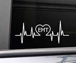 Amazon Com Nashville Decals Emt Emergency Medical Technician Heartbeat Vinyl Decal Laptop Car Truck Bumper Window Sticker 8 X 3 25 White Automotive