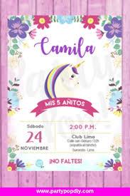 Invitacion De Unicornio Gratis Digital Editable Imprimible Unicorn