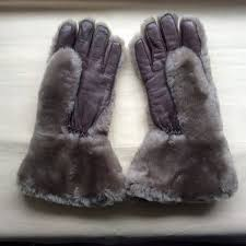 gloves brown leather grey fur fleecy