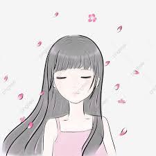 من ناحية مرسومة سقوط الزهور حزين بكاء فتاة الربيع مرسومة باليد