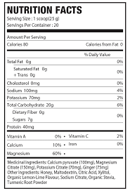 powerade nutrition facts label
