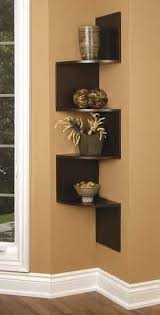 love the corner shelving with images