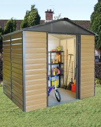 yardmaster 8x6ft woodgrain effect shed