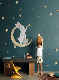 Nursery Cute Rabbit On The Crescent Moon And Yellow Stars Wall Decal Sticker Wall Decals Wallmur