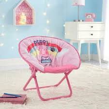 Entertainment One Peppa Pig Mini Kids Saucer Chair Pink Metal Frame With 100 Polyester Cushion