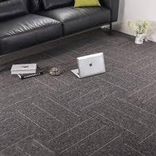 Amazon Com Commercial Office Premium Carpet Tiles Rug For Bedrooms Rug Living Room Kids Rooms Office Decor With Non Slip Asphalt Bottom Backing 20x20inch Dark Grey Stripe 32 Tiles Kitchen Dining
