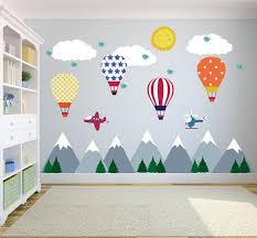 Mountain Wall Decals Hot Air Balloons Wall Decals Nursery Etsy In 2020 Kids Wall Decals Kids Room Murals Kid Room Decor