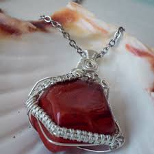red jasper necklace silver plated