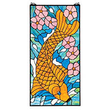 asian koi fish stained glass window