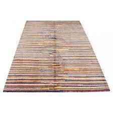 modern multi color stripes design wool rug