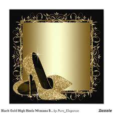 Black Gold High Heels Womans Birthday Party Card Zazzle Com
