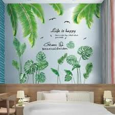 Green Plant Leaves Wall Stickers Diy Nordic Style Leaves Wall Decals House Room Ebay