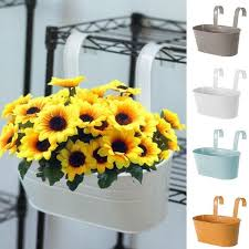 Oval Metal Plant Flower Pot Fence Balcony Garden Hanging Planter Pots Home Decor Wish