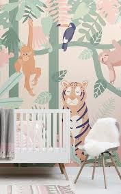 4 Animal Wallpapers For A Sophisticated Nursery Murals Wallpaper Jungle Wallpaper Kids Room Murals Jungle Mural