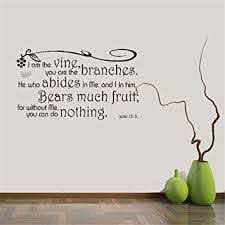 Amazon Com Wall Stickers Art Diy Removable Mural Room Decor Mural Vinyl Wall Decal Quote I Am The Vine You Are The Branches He Who Abides In Me And I In Him John