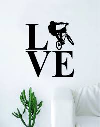 Love Bmx Biker Silhouette Sports Decal Sticker Wall Vinyl Art Home Dec Boop Decals